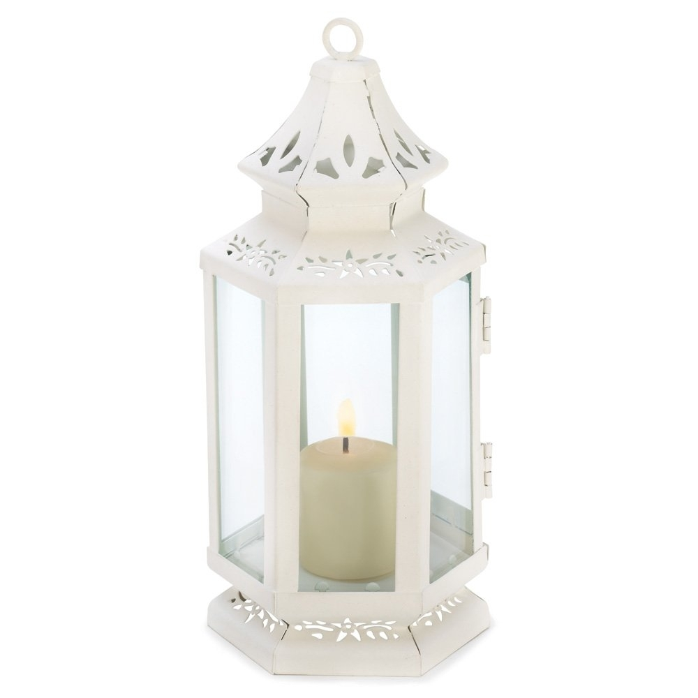 White Lanterns Candle, Rustic Antique Outdoor Victorian Candle in Outdoor Cast Iron Lanterns (Image 18 of 20)