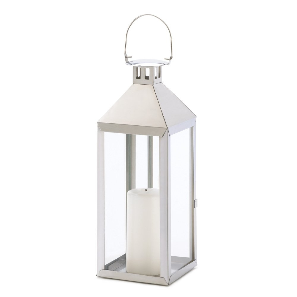 White Metal Candle Lantern, Outdoor Lanterns For Candles Stainless inside Outdoor Cast Iron Lanterns (Image 19 of 20)