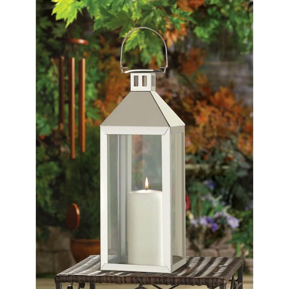 White Metal Candle Lantern, Outdoor Lanterns For Candles Stainless Intended For Outdoor Oversized Lanterns (Photo 19 of 20)