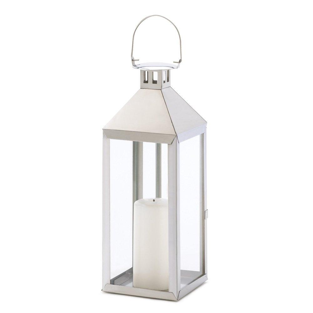 White Metal Candle Lantern, Outdoor Lanterns For Candles Stainless Within Outdoor Lanterns Decors (View 18 of 20)