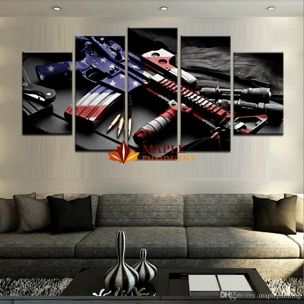 Wholesale Large Wall Art Hd Printed Gun Home Decorative Pictures For Within Large Canvas Painting Wall Art (Photo 10 of 20)