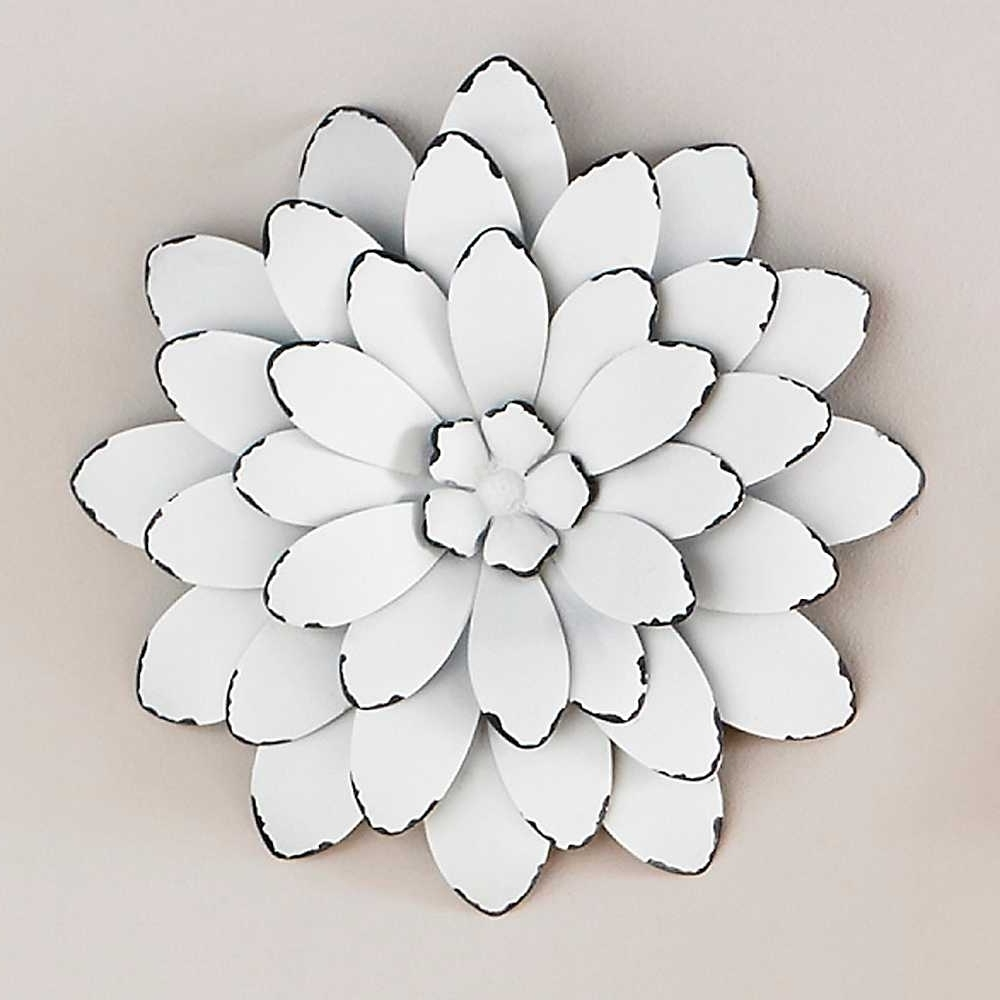 Widely Used Big Metal Wall Art With Wall Art Design Ideas White With Metal Flower Wall Art (View 16 of 20)