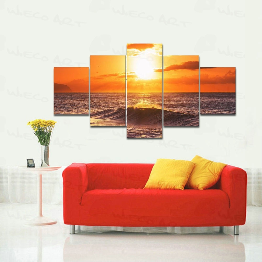 Wieco Art 5 Panels Stretched Large Size The Morning Sea Hd Canvas Inside Large Framed Canvas Wall Art (Photo 2 of 20)