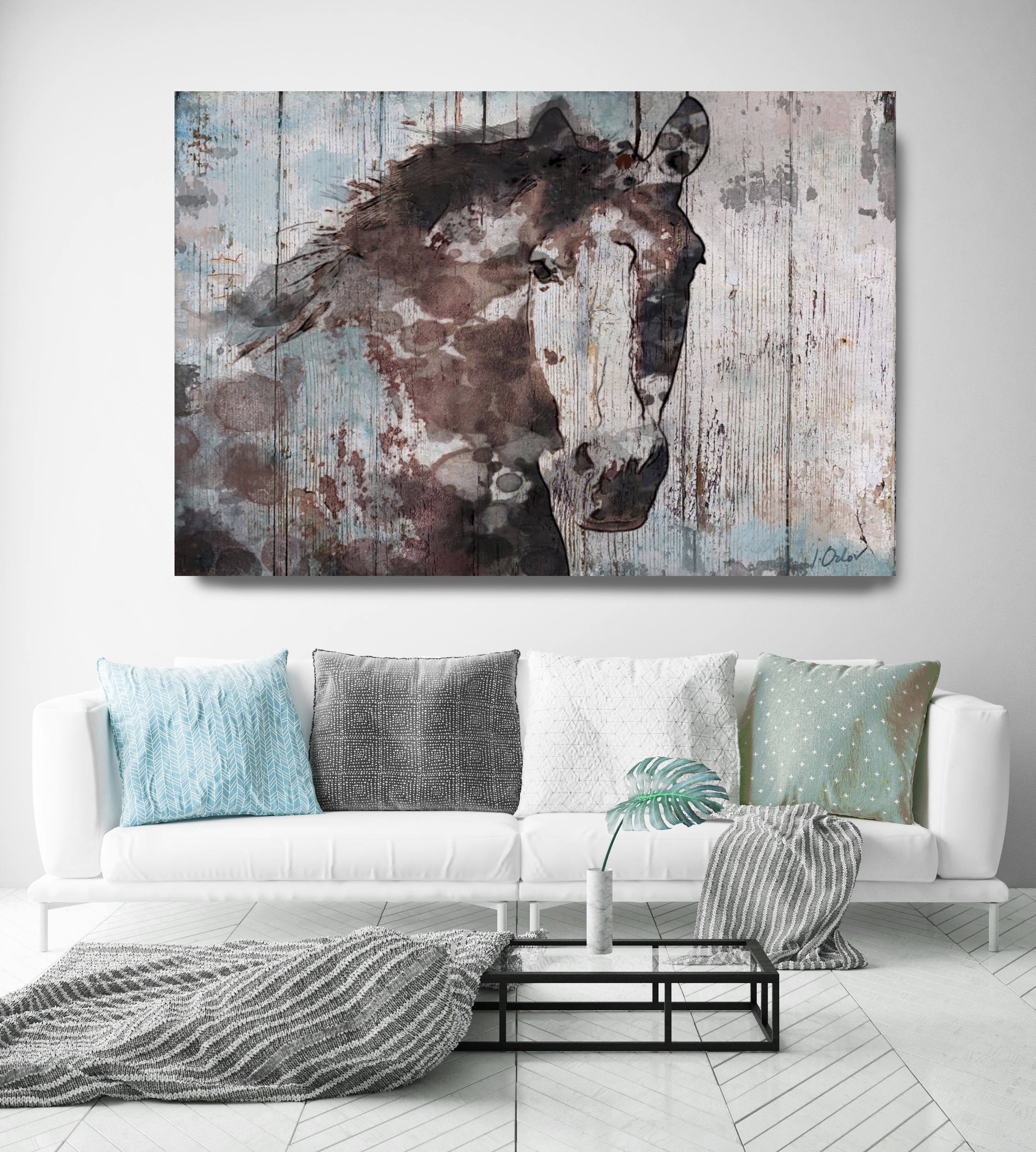 Wild Blue Horse. Extra Large Horse, Unique Horse Wall Decor, Brown regarding Large Rustic Wall Art (Image 20 of 20)