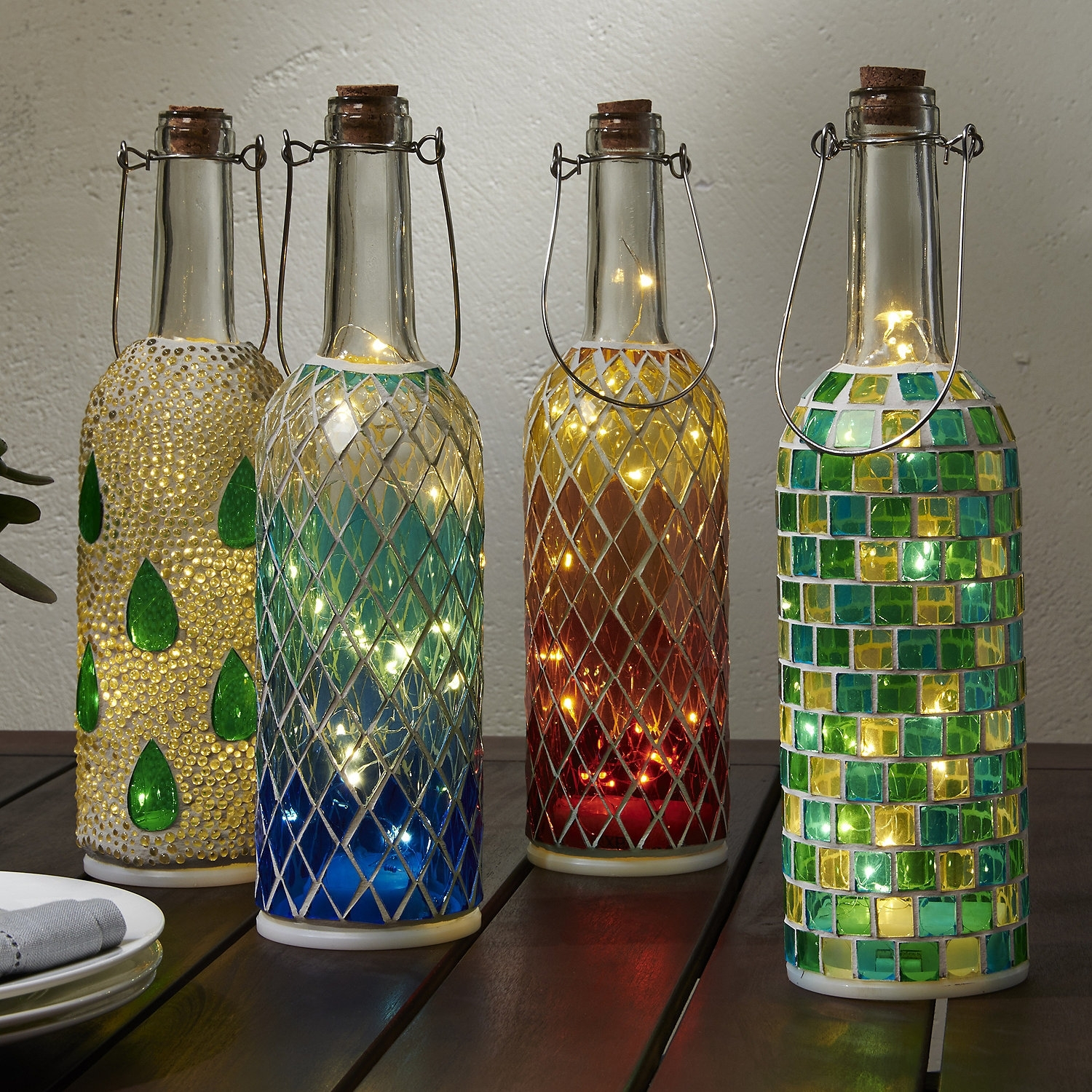 Wine Bottle Mosaic Lanterns (Set Of 4)   Wine Enthusiast Intended For Outdoor Mosaic Lanterns (Photo 16 of 20)