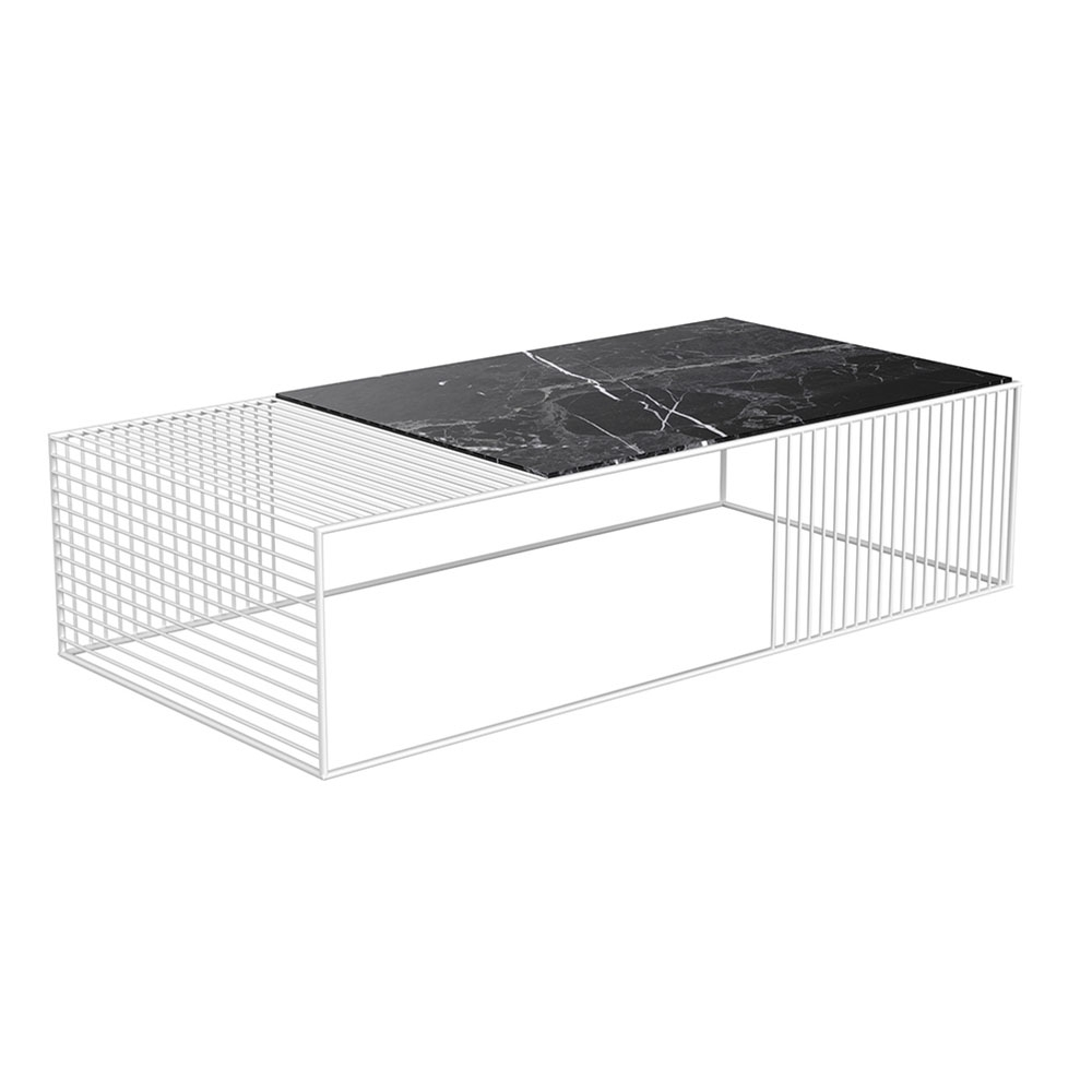 Wire Coffee Table – Black Marble, White – Rouse Home Throughout Black Wire Coffee Tables (Photo 20 of 30)