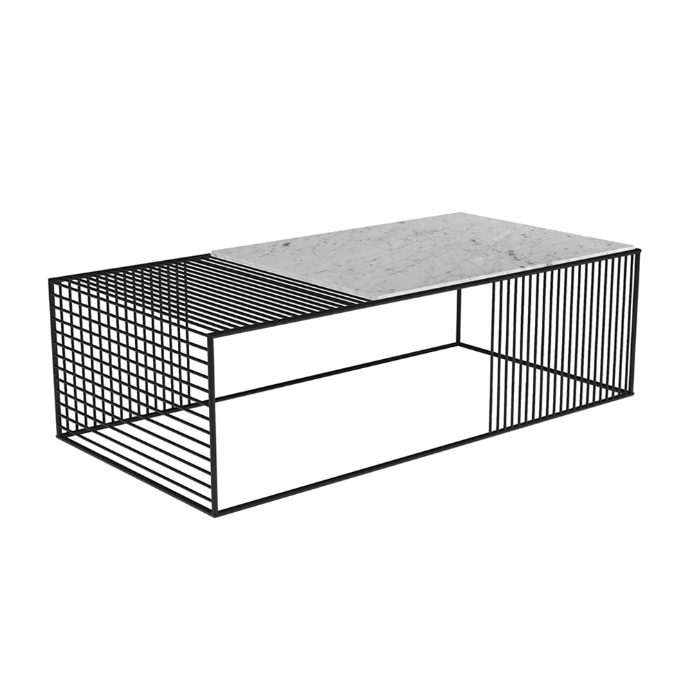 Wire Coffee Table – White Marble, Black – Rouse Home With Regard To Black Wire Coffee Tables (Photo 22 of 30)