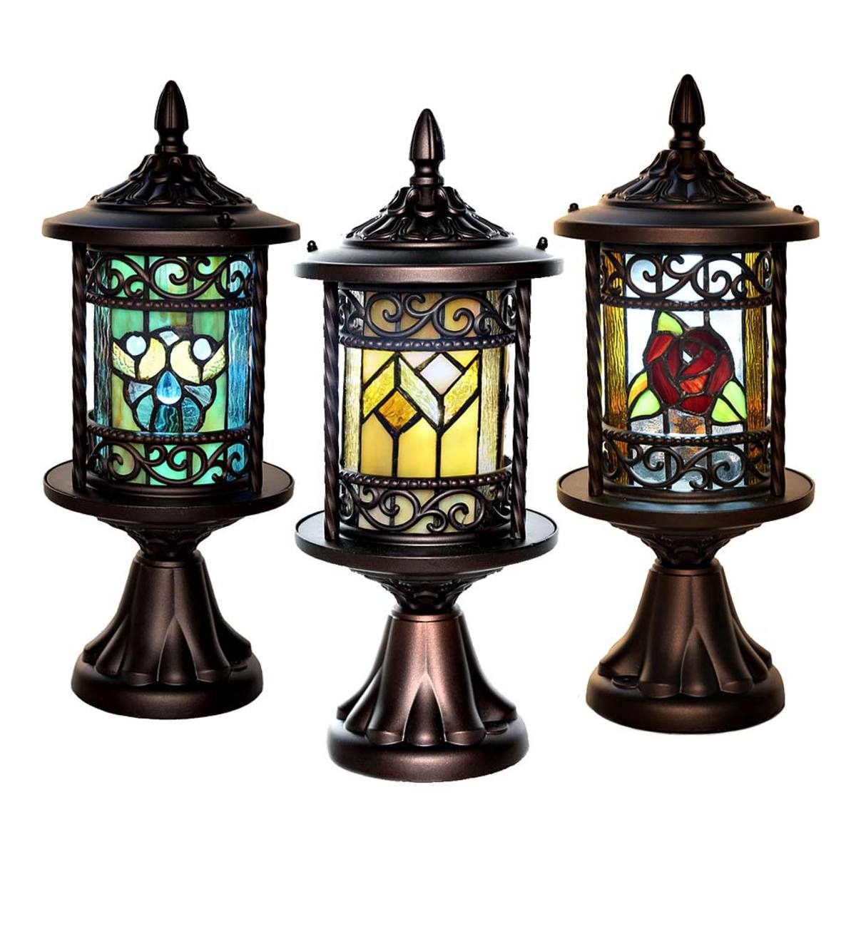 Wireless Stained Glass Outdoor Lantern | Wind And Weather inside Outdoor Lanterns Without Glass (Image 20 of 20)