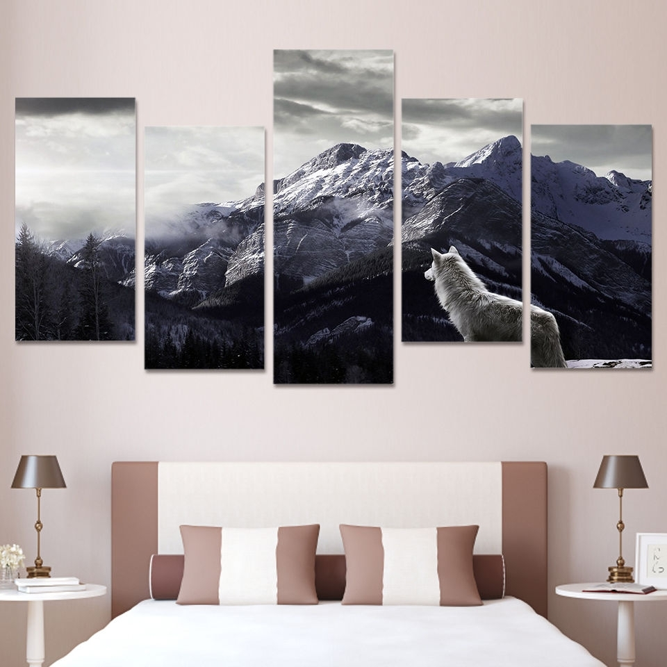 Wolf Canvas 5 Piece Wall Art Prints Snow Mountain Picture Large Home within 5 Piece Wall Art (Image 20 of 20)