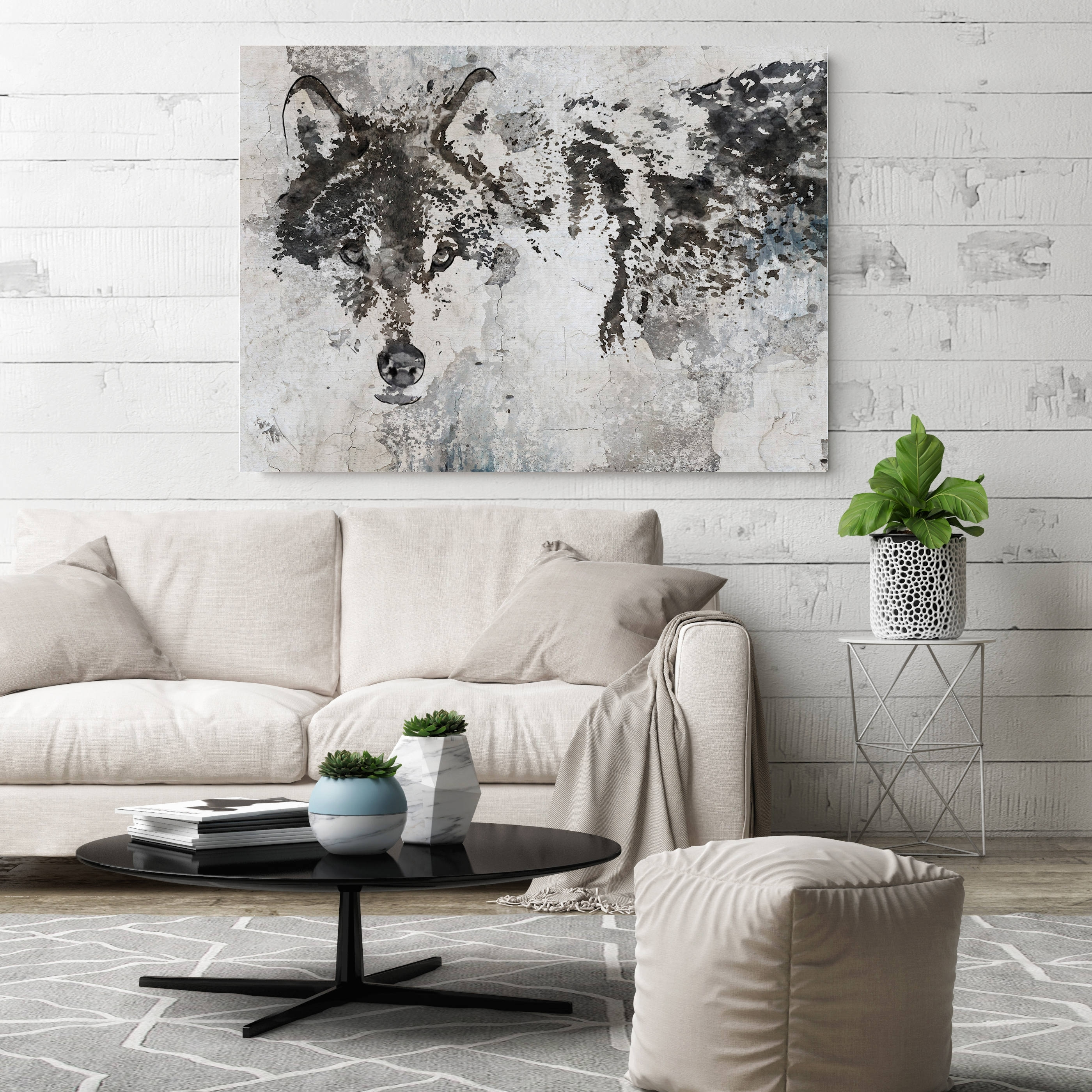 Wolf Canvas Art, Wolf Canvas Painting, Wolf Wall Art, Wolf Painting With Grey Wall Art (Photo 19 of 20)