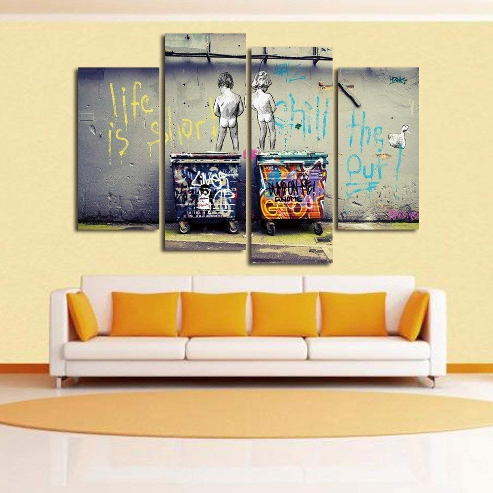 """Wonzom Large Banksy Canvas Prints """"seize The Day"""" Modern Wall Art in Modern Wall Art (Image 20 of 20)"""