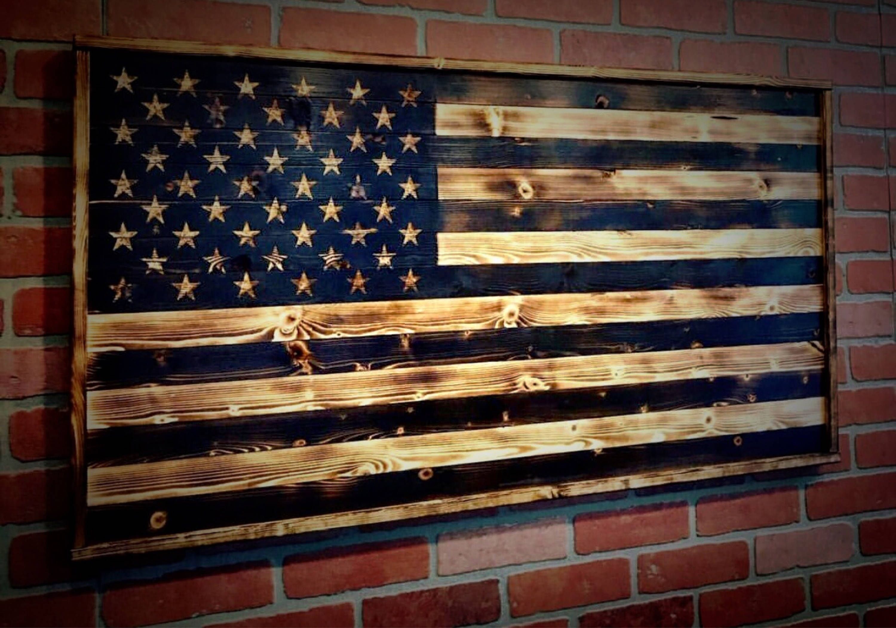 Wood American Flag, Gift For Him, Wood Flag, American Flag Pertaining To Wooden American Flag Wall Art (Photo 17 of 20)