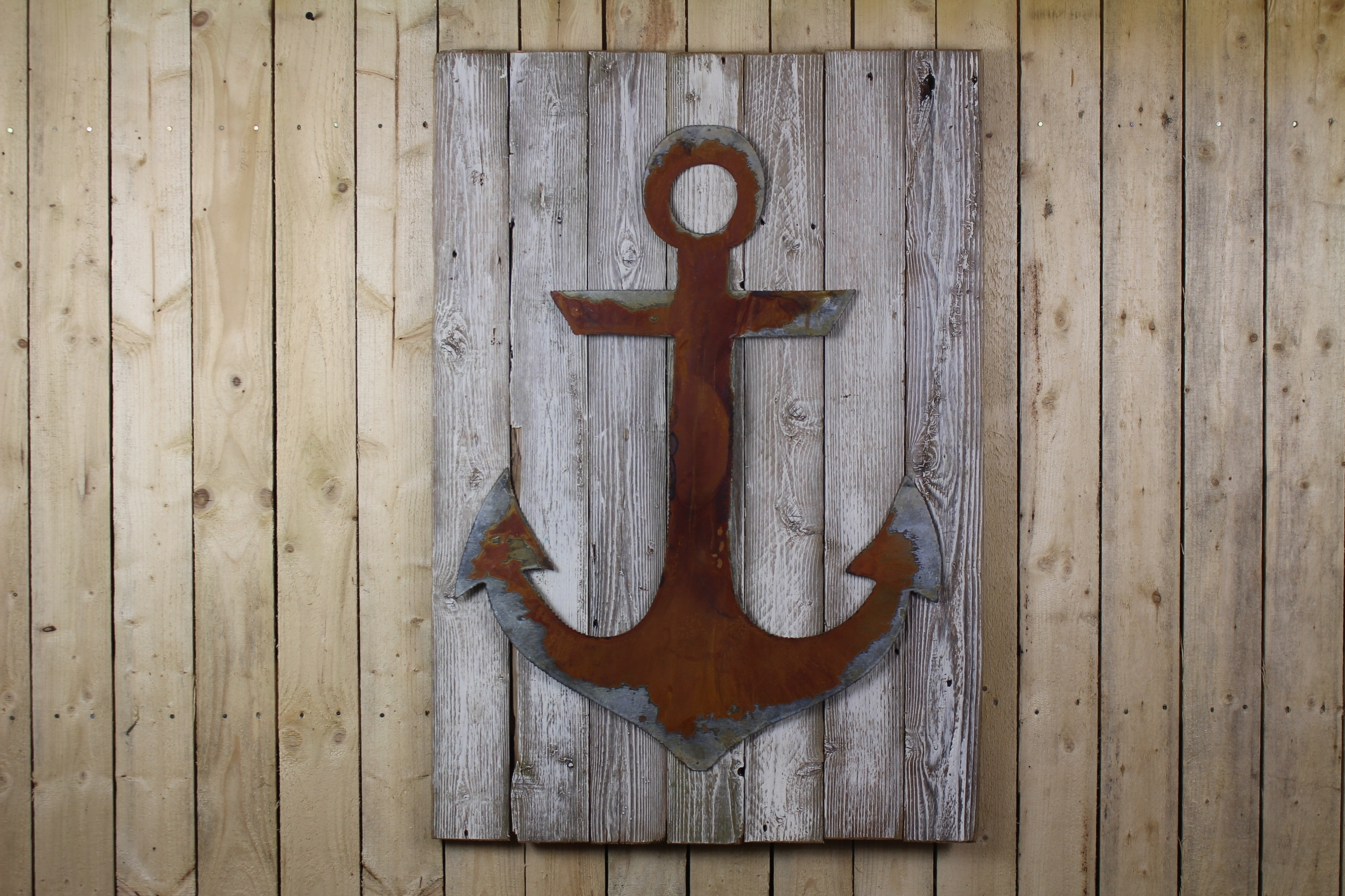 Wood Anchor Wall Decor Anchor On Wood Back – Rustic Metal Letters regarding Anchor Wall Art (Image 19 of 20)