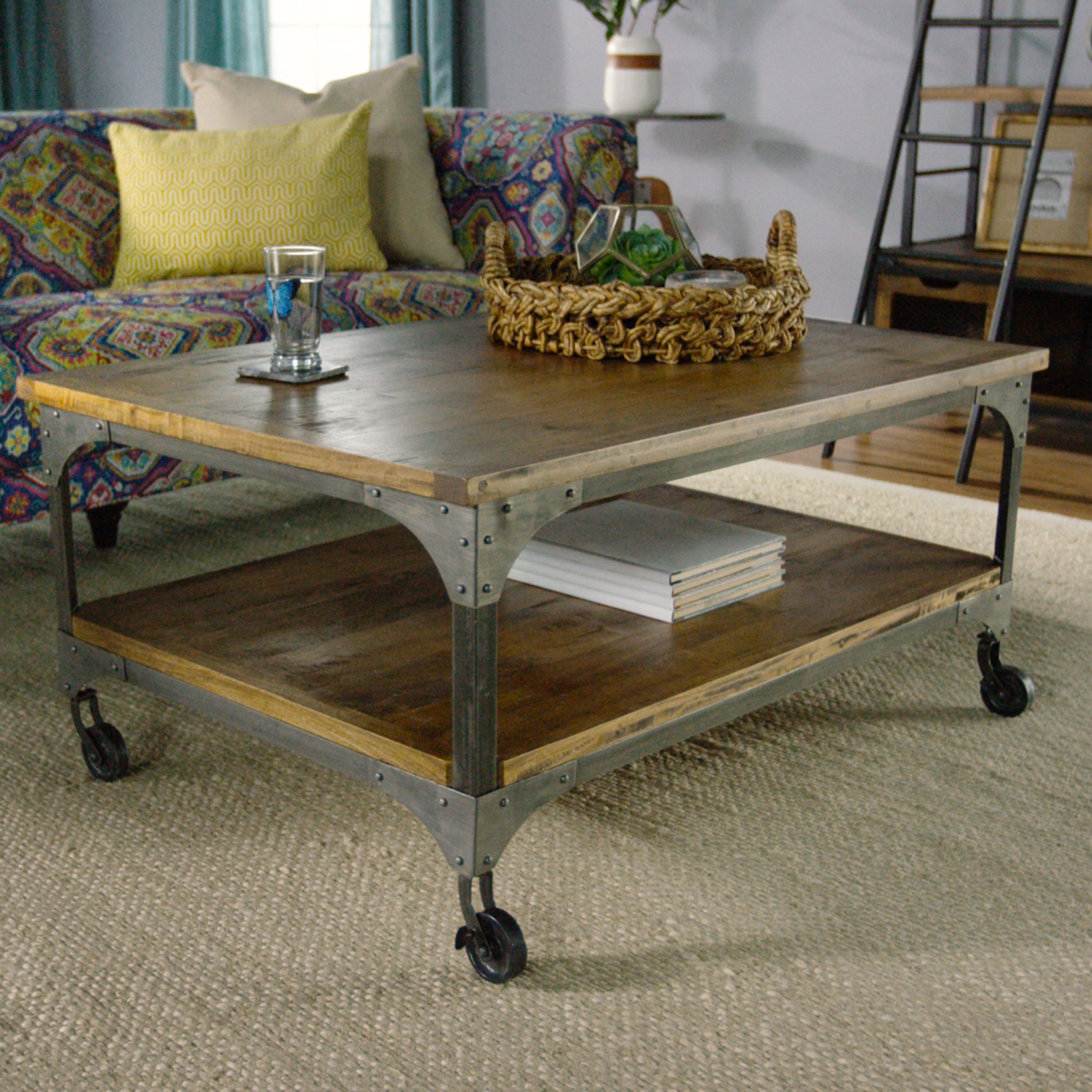 Wood And Metal Aiden Coffee Table | World Market Pertaining To Jelly Bean Coffee Tables (Image 30 of 30)