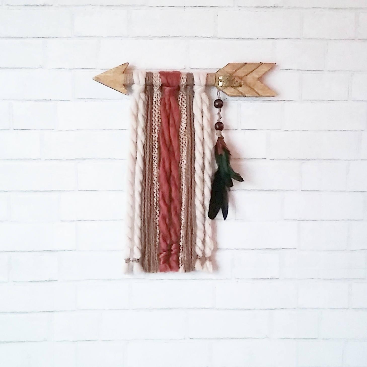 Wood Arrow Wall Hanging / Boho Nursery Decor / Yarn Wall Hanging In Yarn Wall Art (View 19 of 20)