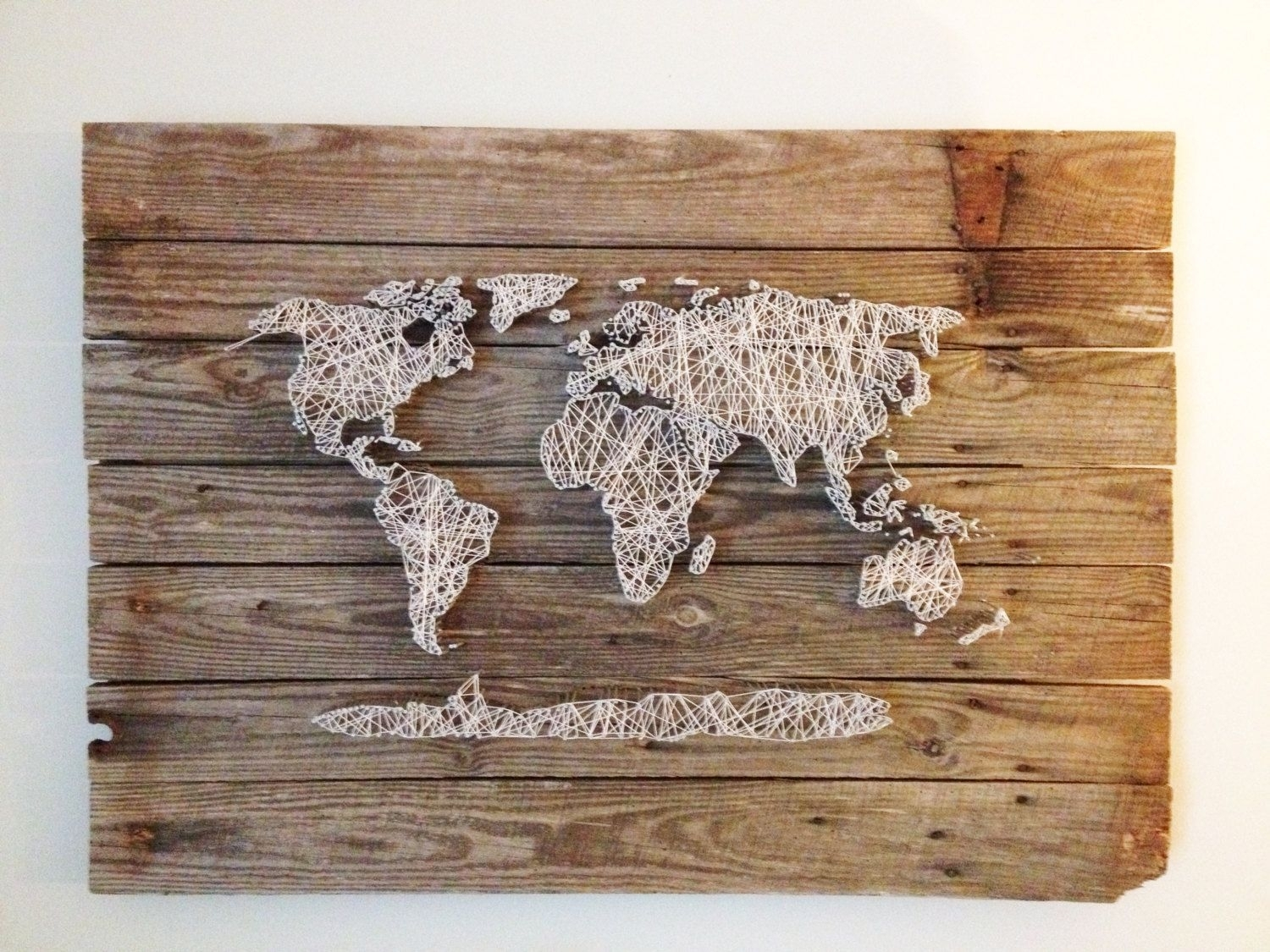 Wood Art Wall Decor World Map Reclaimed Barn Door Wood String Art Regarding World Map Wood Wall Art (Photo 15 of 20)