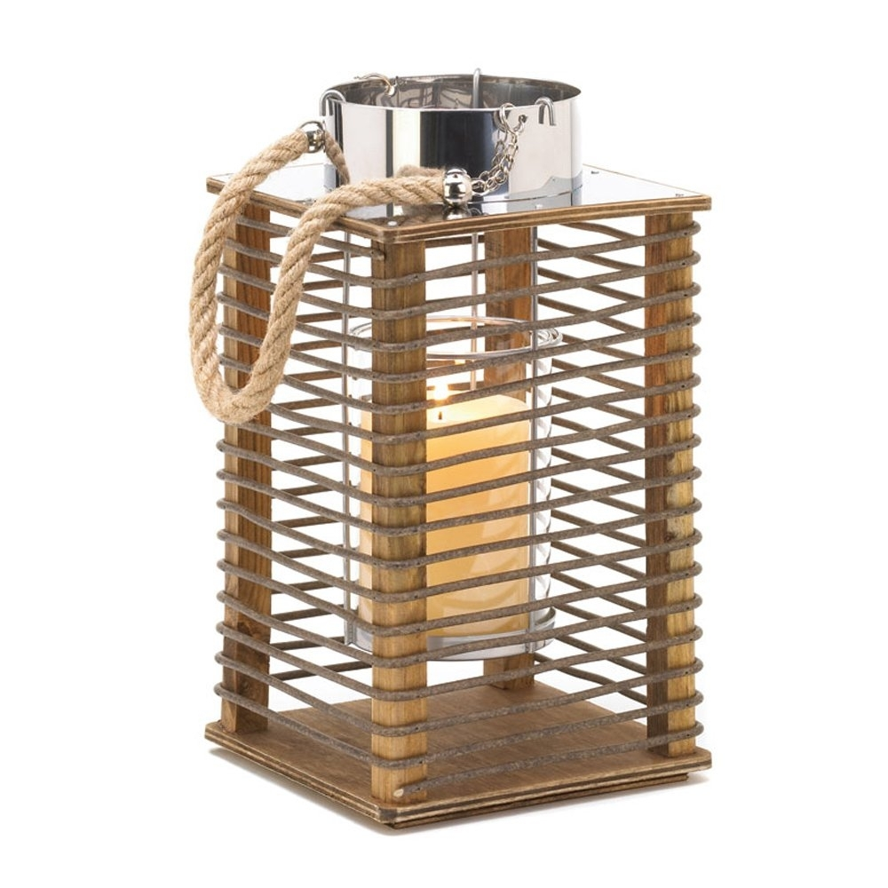 Wood Candle Lantern, Outdoor Rustic Decor Hudson Wooden Lantern regarding Outdoor Wood Lanterns (Image 19 of 20)