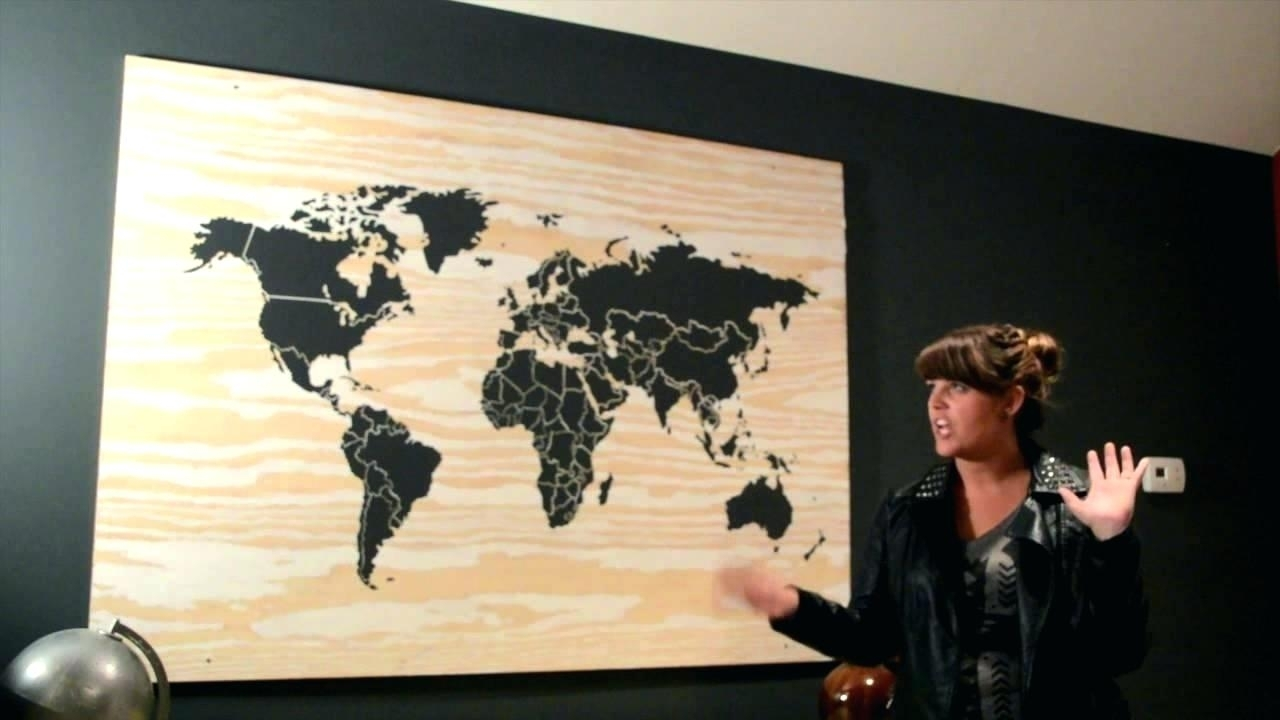 Wood Map Wall Art En World Diy – Kcscienceinc In Diy World Map Wall Art (Photo 9 of 20)