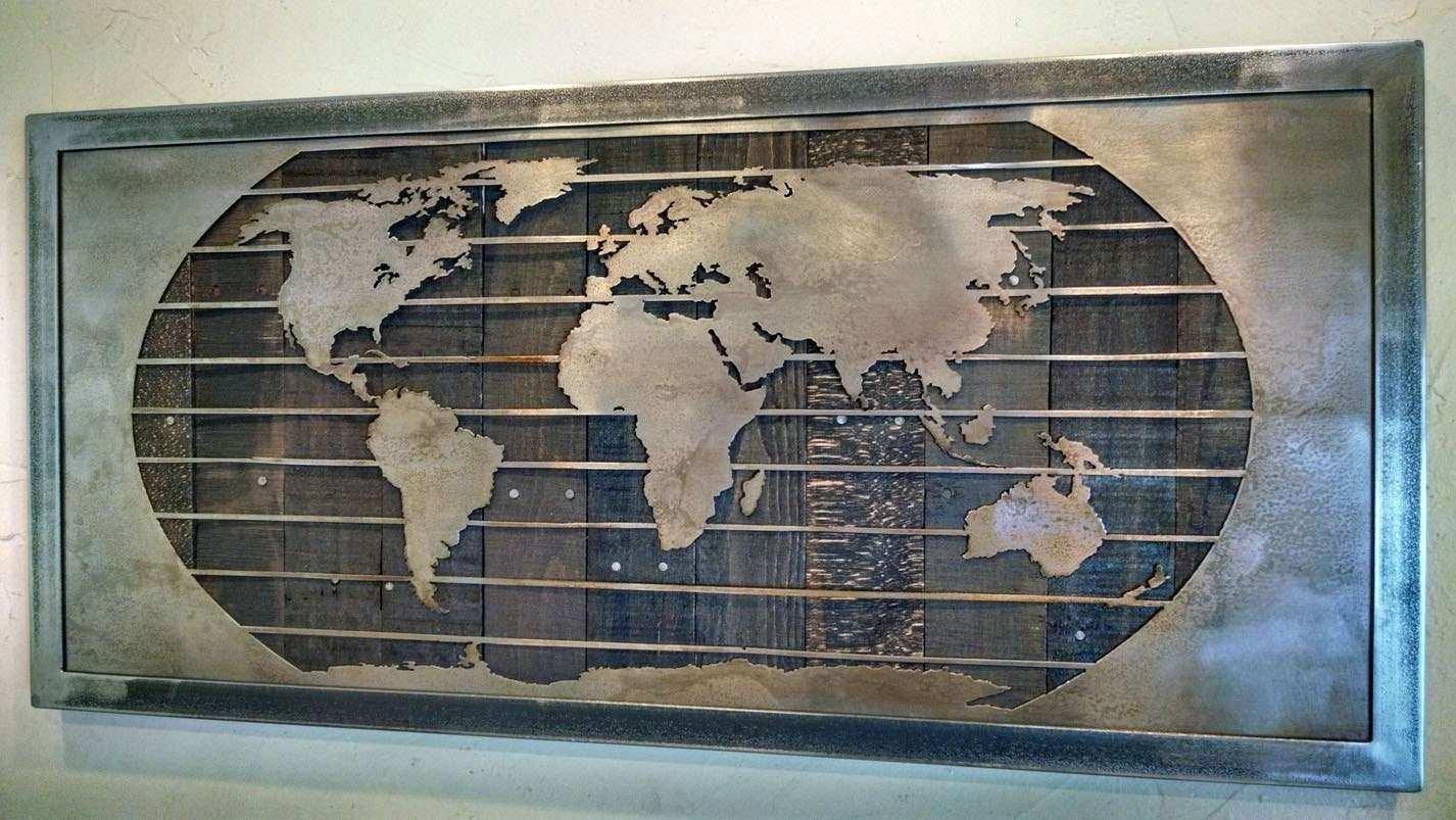 Wood Metal Wall Art Best Of Metal World Map Wall Art Sculpture 3 With Wood And Metal Wall Art (Photo 3 of 20)