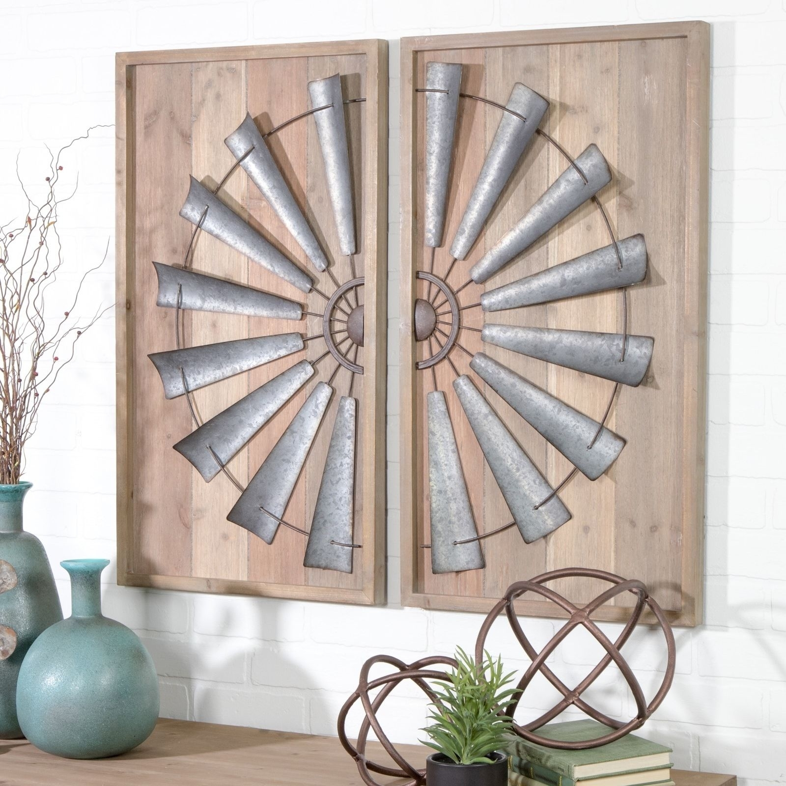 Wood Metal Wall Art Panel Set Of 2 Windmill Rustic Farmhouse Home With Windmill Wall Art (View 11 of 20)
