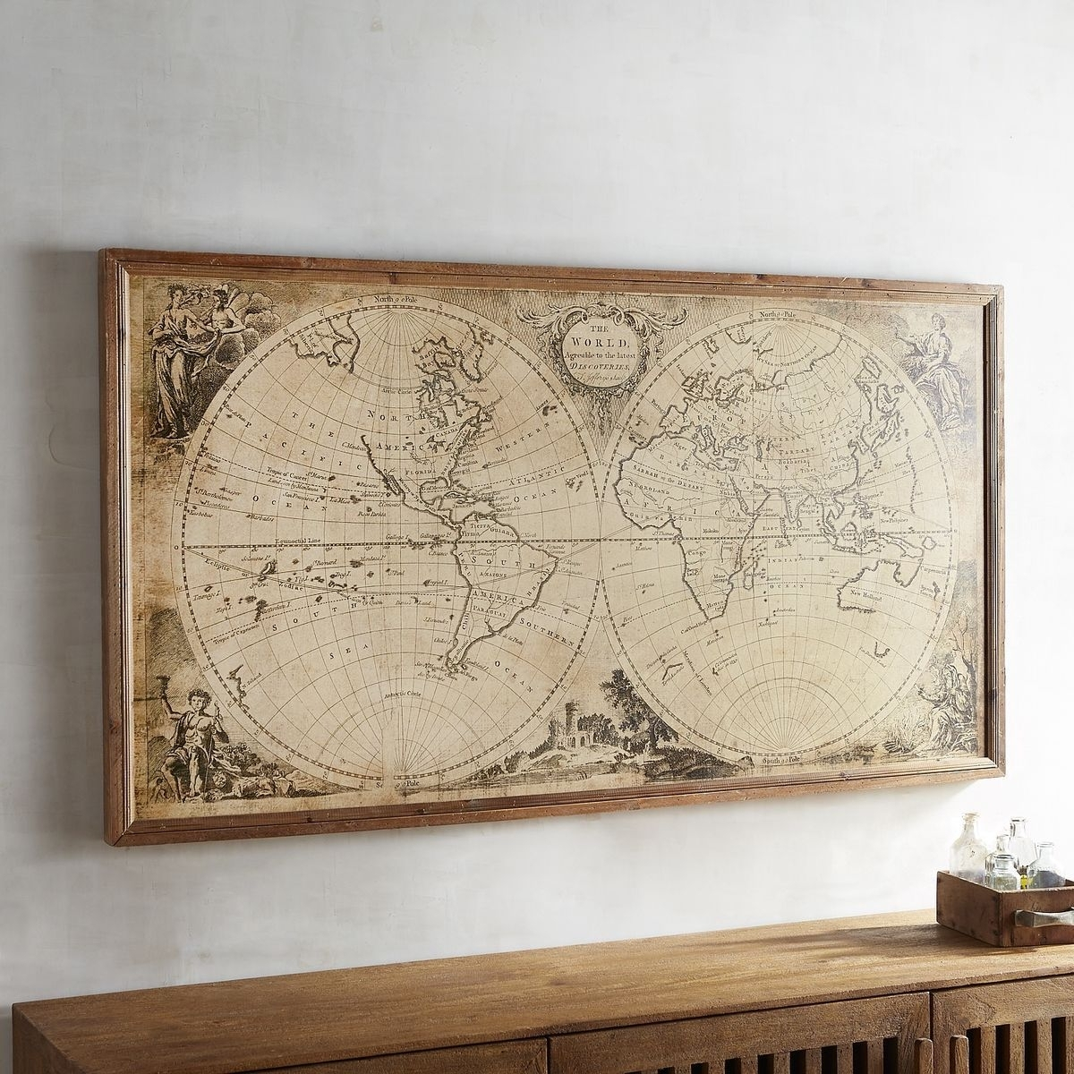 Wood Pier Framed Wall Art Pier 1 Imports Vintage Style World Map In Cool Map Wall Art (Photo 15 of 20)