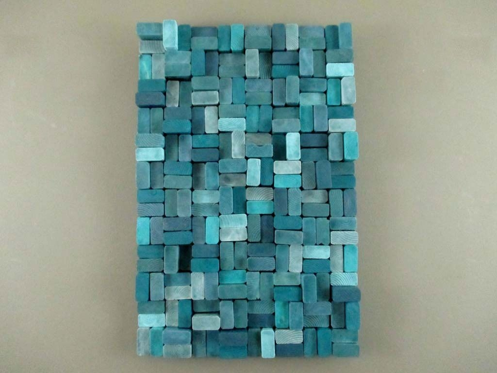 Wood Slice Sculpture - Wooden Slice Sculpture - Teal Wall Sculpture with Teal Wall Art (Image 20 of 20)