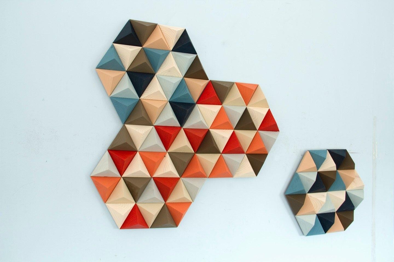 Wood Wall Art, Geometric, Hexagons, Set Of 4, Mid Century Wall Art With Regard To Mid Century Wall Art (View 20 of 20)