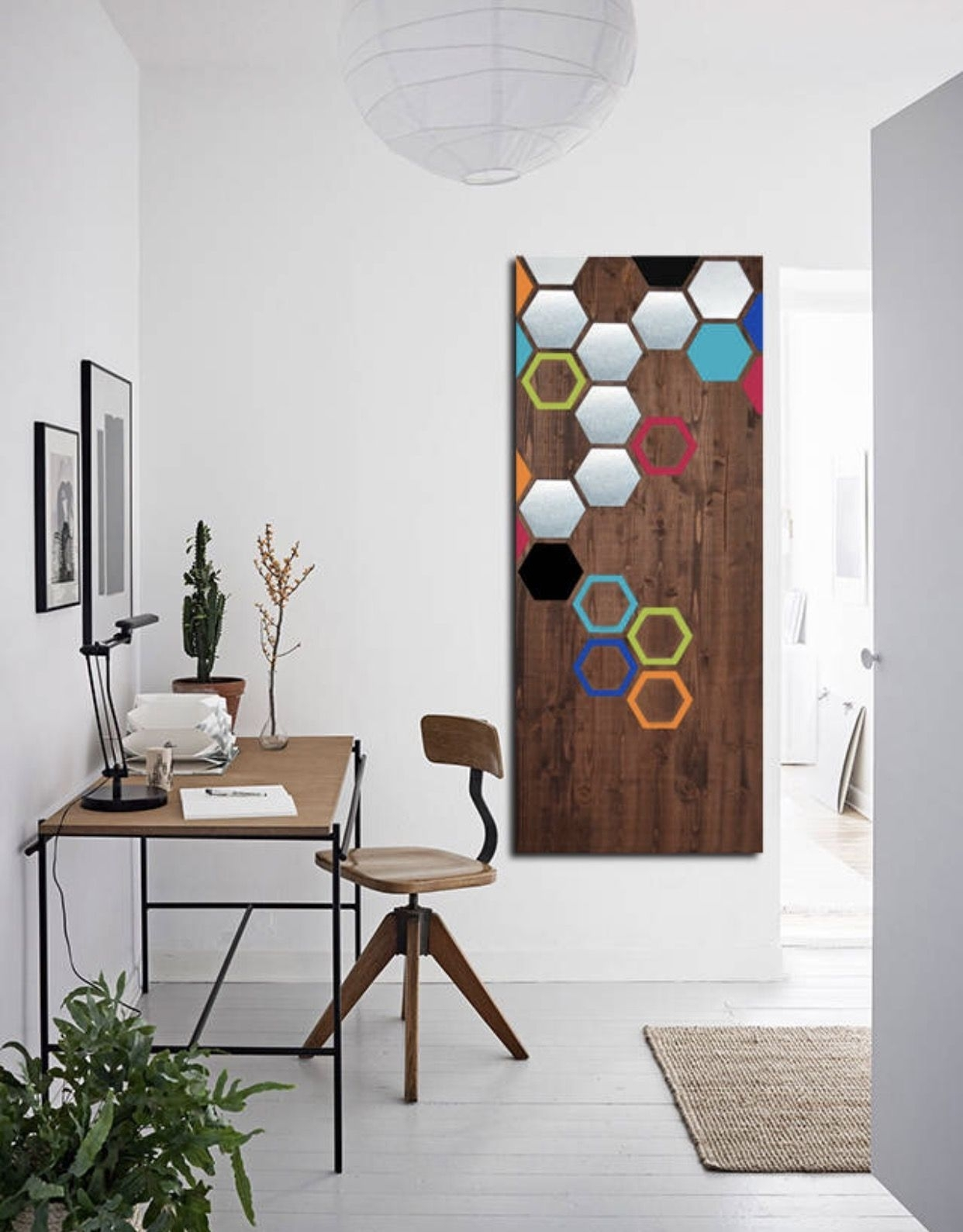 Wood Wall Art – Metal Wall Art – Modern Geometric Painting Mixed Intended For Large Contemporary Wall Art (View 7 of 20)