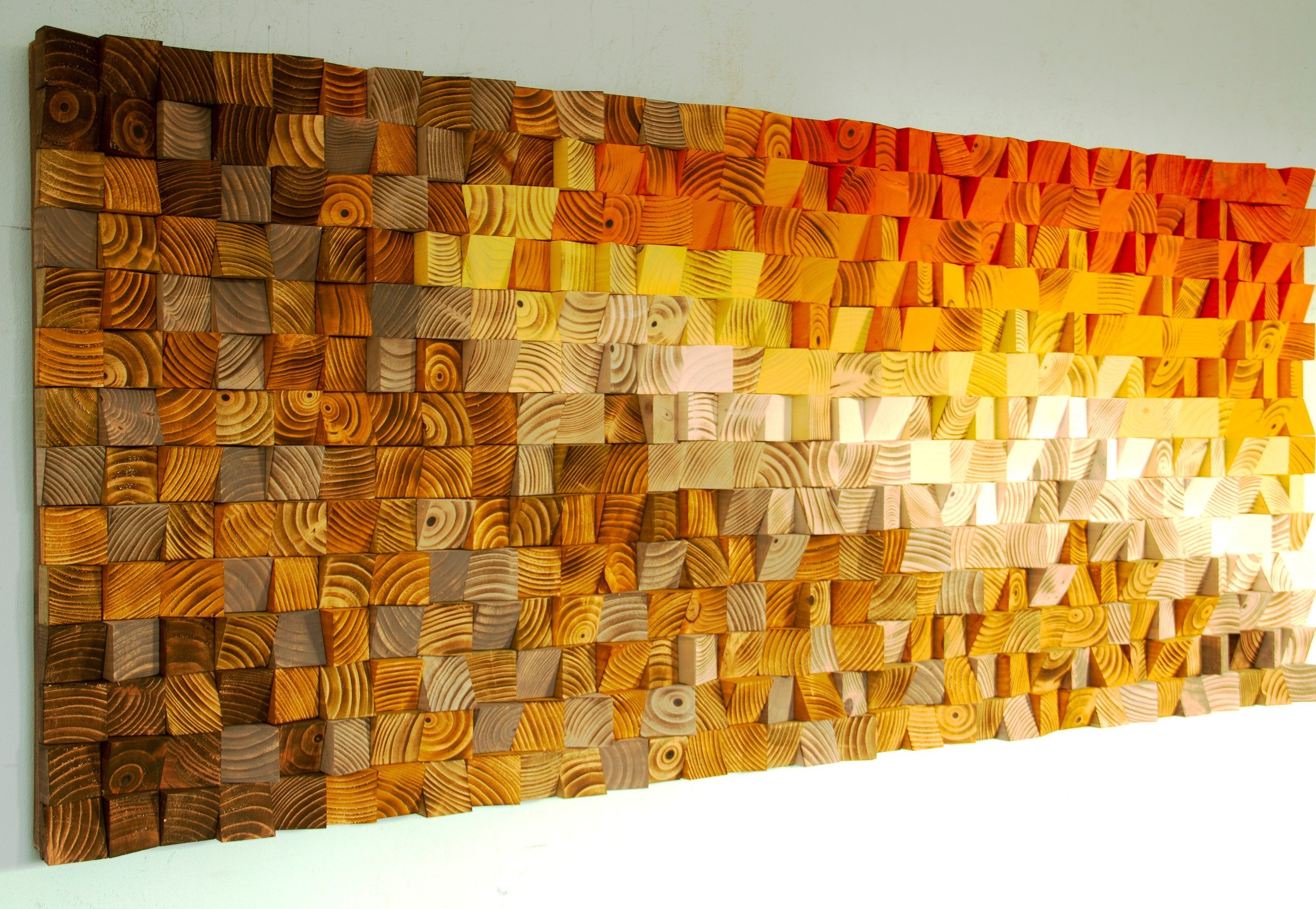 Wood Wall Art, Orange Wall Art, Reclaimed Wood Wall Art, 3D Wall Art in Orange Wall Art (Image 20 of 20)