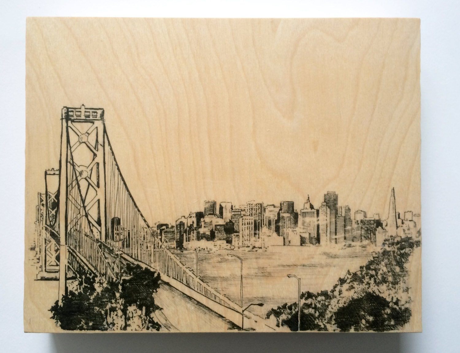Wood Wall Art San Francisco Skyline Art On Wood San Francisco Art Regarding San Francisco Wall Art (View 14 of 20)