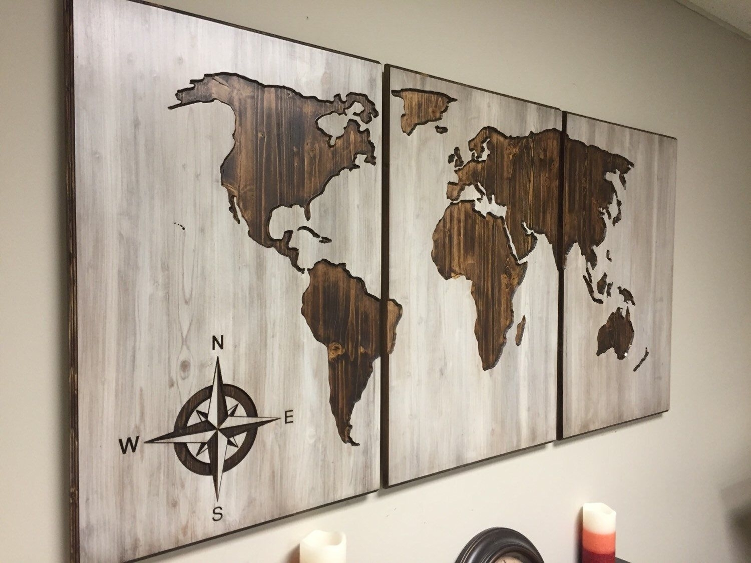 Wood World Map Wall Art, Carved 3 Panel Home Decor, Wood Wall Art Inside Map Of The World Wall Art (Photo 1 of 20)