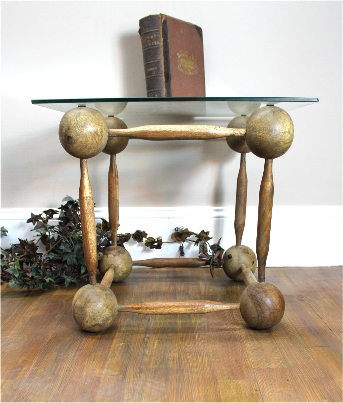 Wooden Ball And Spindle Cube Hand Made End Coffee Table Old Finish pertaining to Brass Iron Cube Tables (Image 30 of 30)