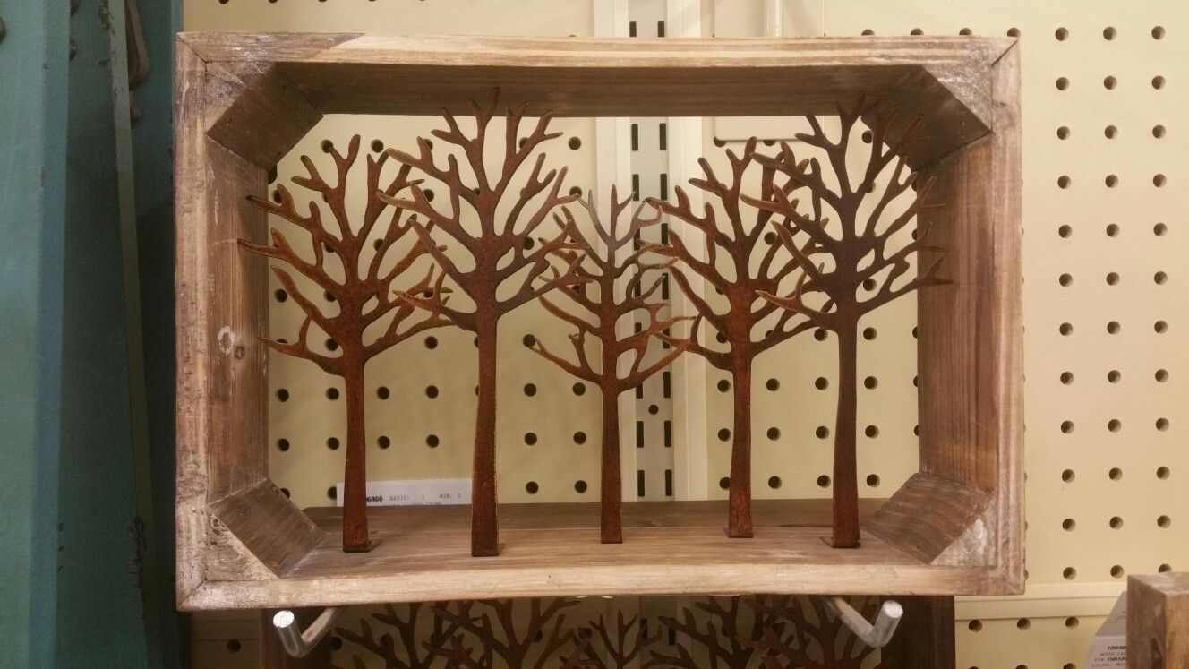 Wooden Box With Metal Trees @ Hobby Lobby | Metal Wall Art for Hobby Lobby Metal Wall Art (Image 19 of 20)