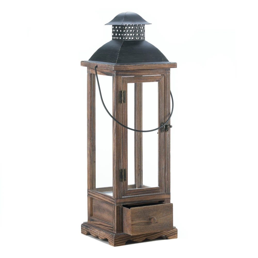 Wooden Lantern Candle Holder, Hanging Rustic Large Candle Lanterns In Large Outdoor Rustic Lanterns (Photo 11 of 20)