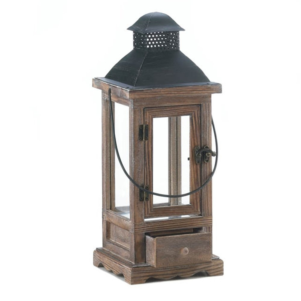 Wooden Lantern Candle Holder, Rustic Candle Lanterns Outdoor For with Outdoor Glass Lanterns (Image 20 of 20)