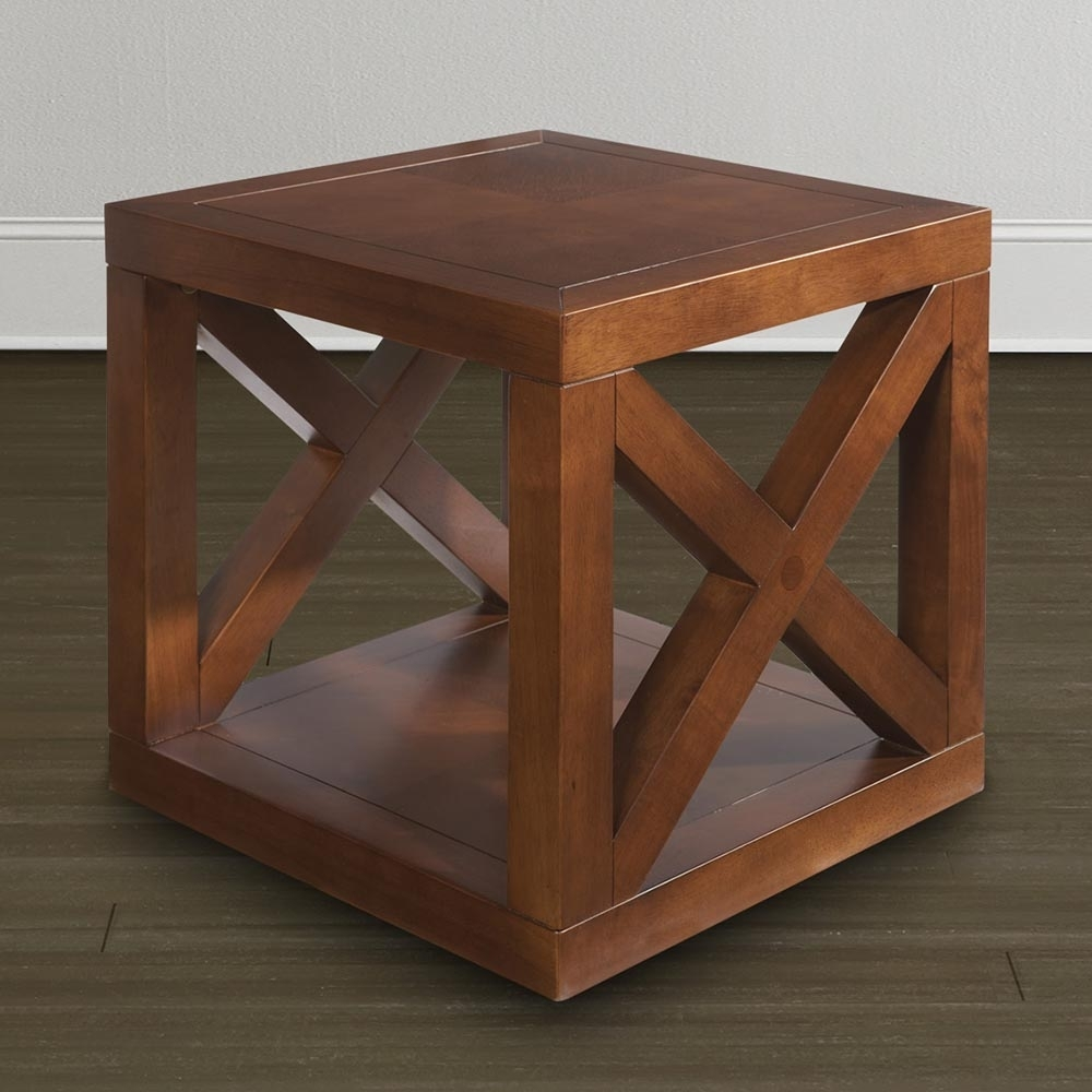 Wooden Motif Designed Cube Table | Bassett Furniture in Aged Iron Cube Tables (Image 28 of 30)