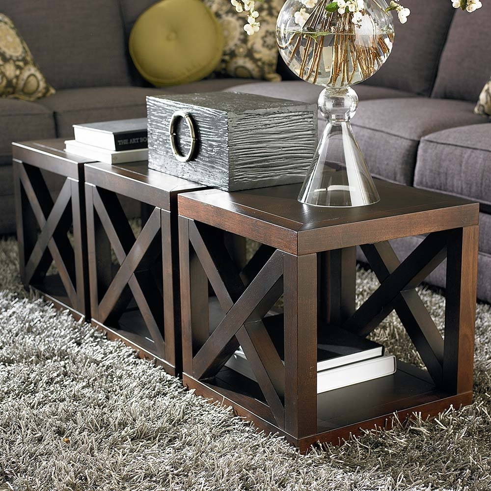 Wooden Motif Designed Cube Table | Bassett Furniture with Aged Iron Cube Tables (Image 29 of 30)