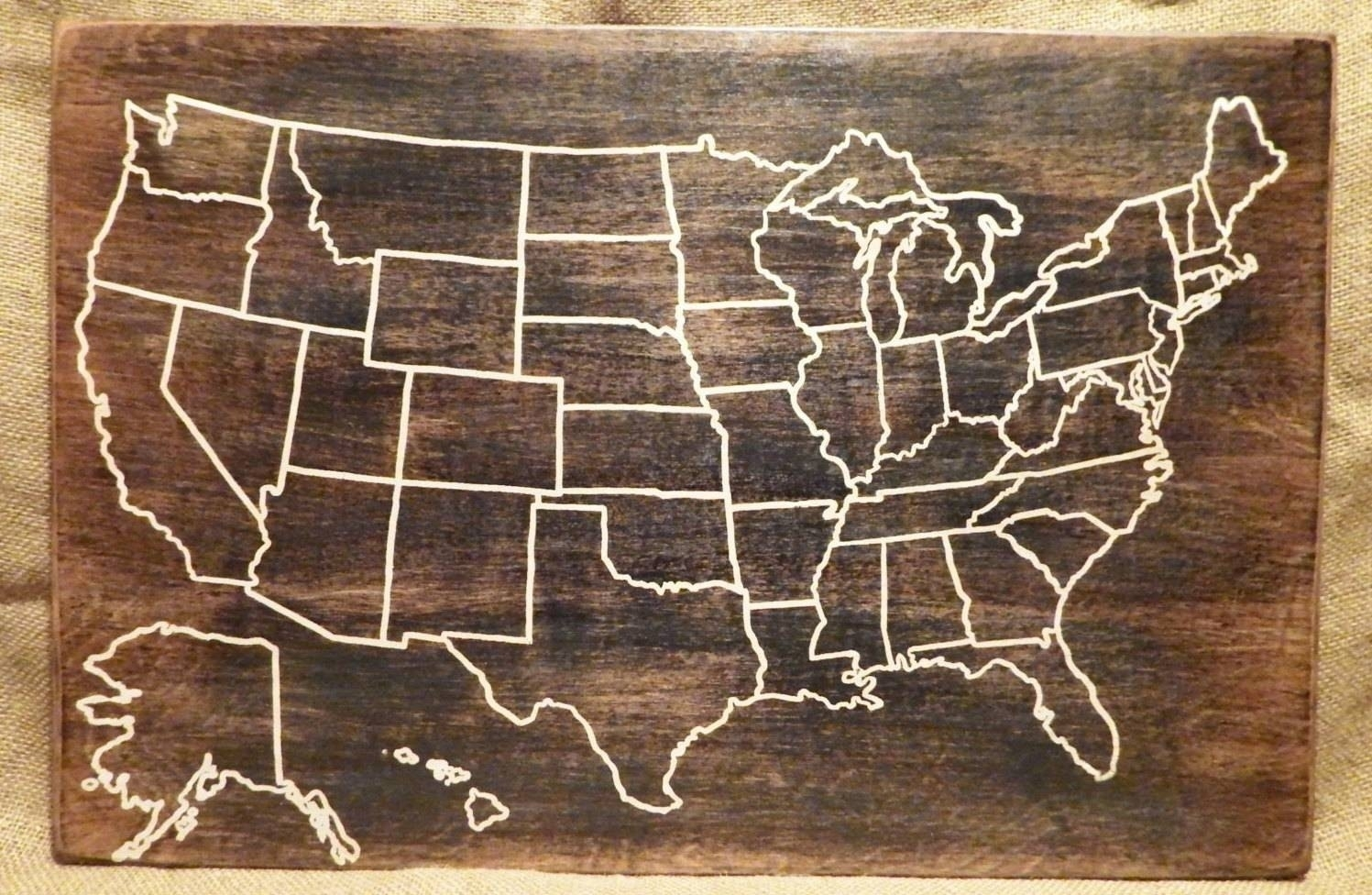 Wooden United States Map | Kurashiconcier intended for Usa Map Wall Art (Image 18 of 20)