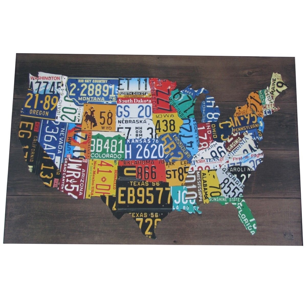 Wooden Usa License Plate Map Pub Bar Wall Art Wood U.s.a. Auto Car With License Plate Map Wall Art (Photo 13 of 20)