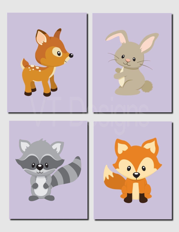 Woodland Nursery Decor, Deer, Bunny, Fox, Raccoon, Lavender Intended For Woodland Nursery Wall Art (Photo 18 of 20)