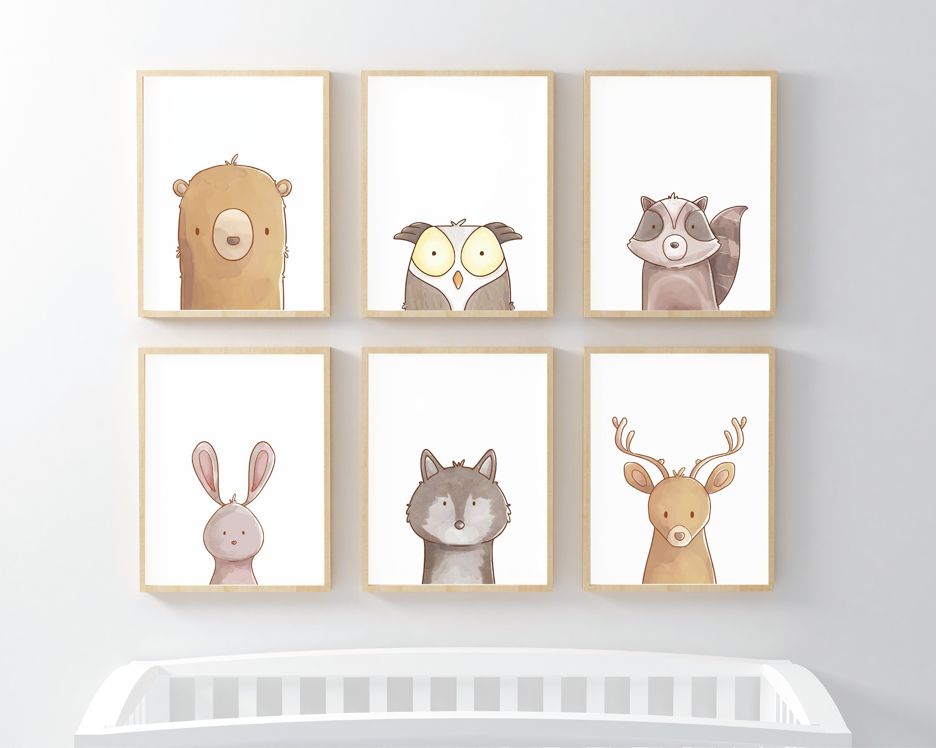 Woodland Nursery Prints | Set Of 6 Prints | Woodland Animals In Woodland Nursery Wall Art (Photo 13 of 20)