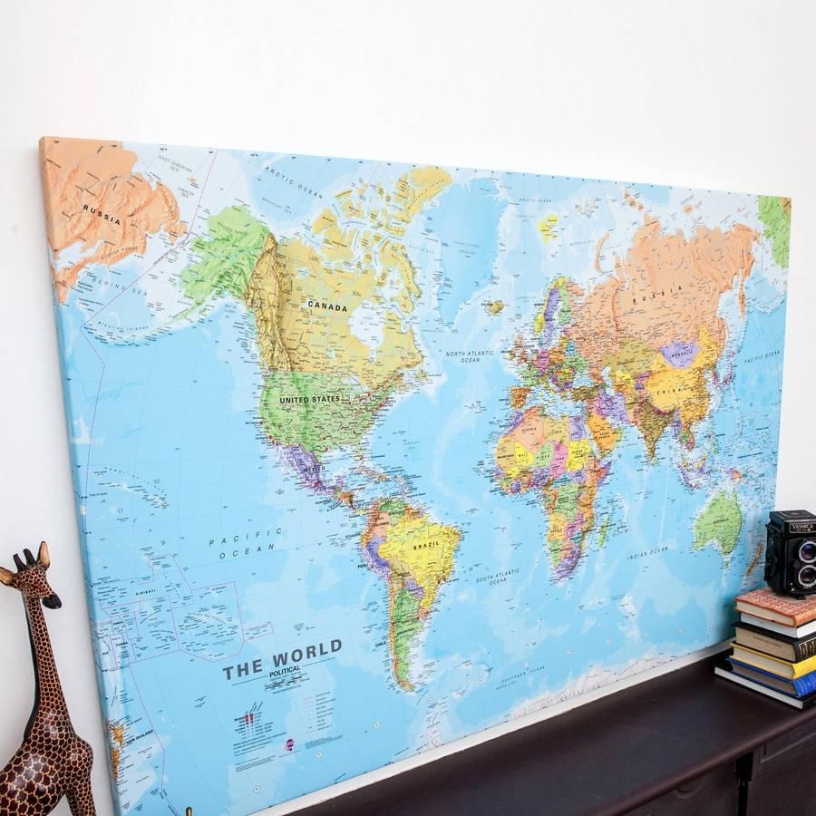 World Canvas Map Printmaps International | Notonthehighstreet Within Map Wall Art Prints (Photo 1 of 20)