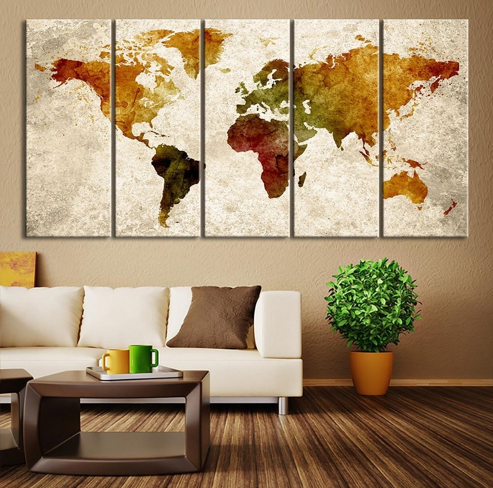 World Map Abstract Wall Art Canvas Throughout – Betinhell with Map of the World Wall Art (Image 13 of 20)