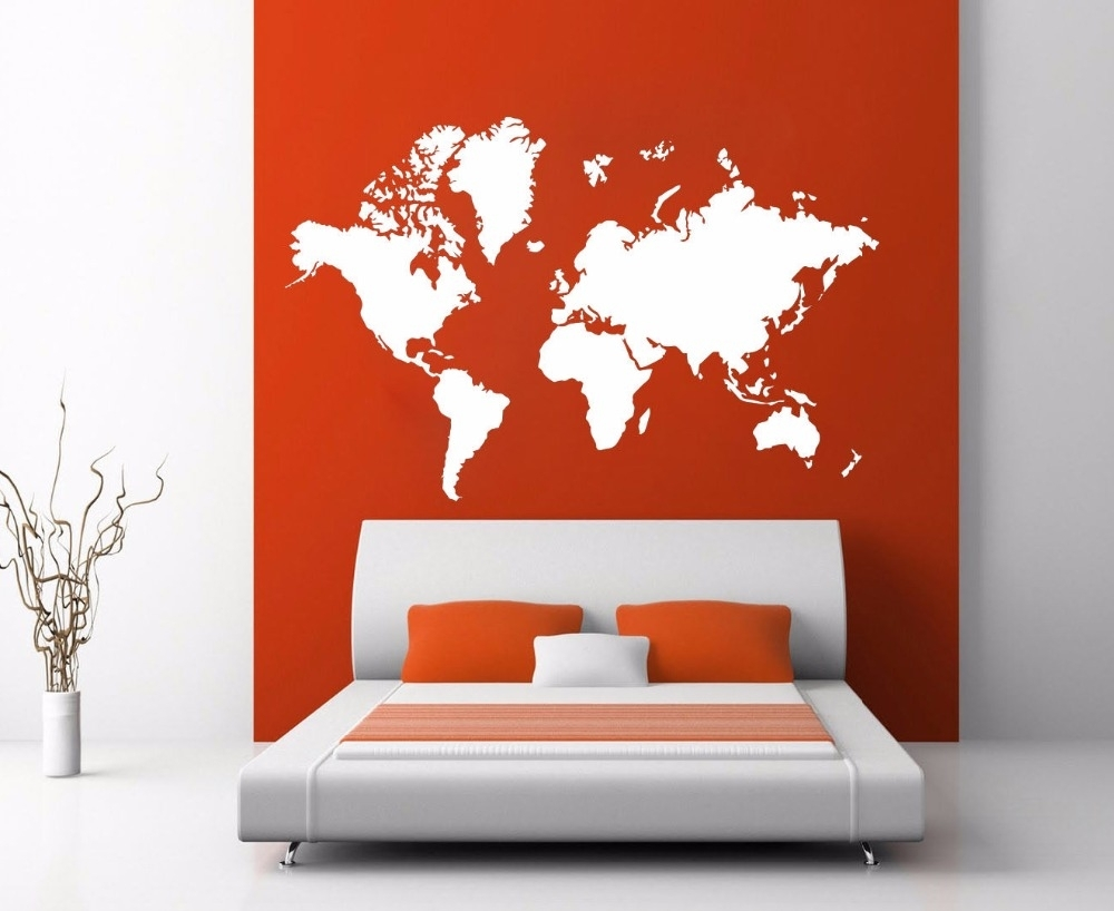 World Map Atlas Silhouette Wall Art Decal Sticker Removable Vinyl With Vinyl Wall Art World Map (Photo 17 of 20)
