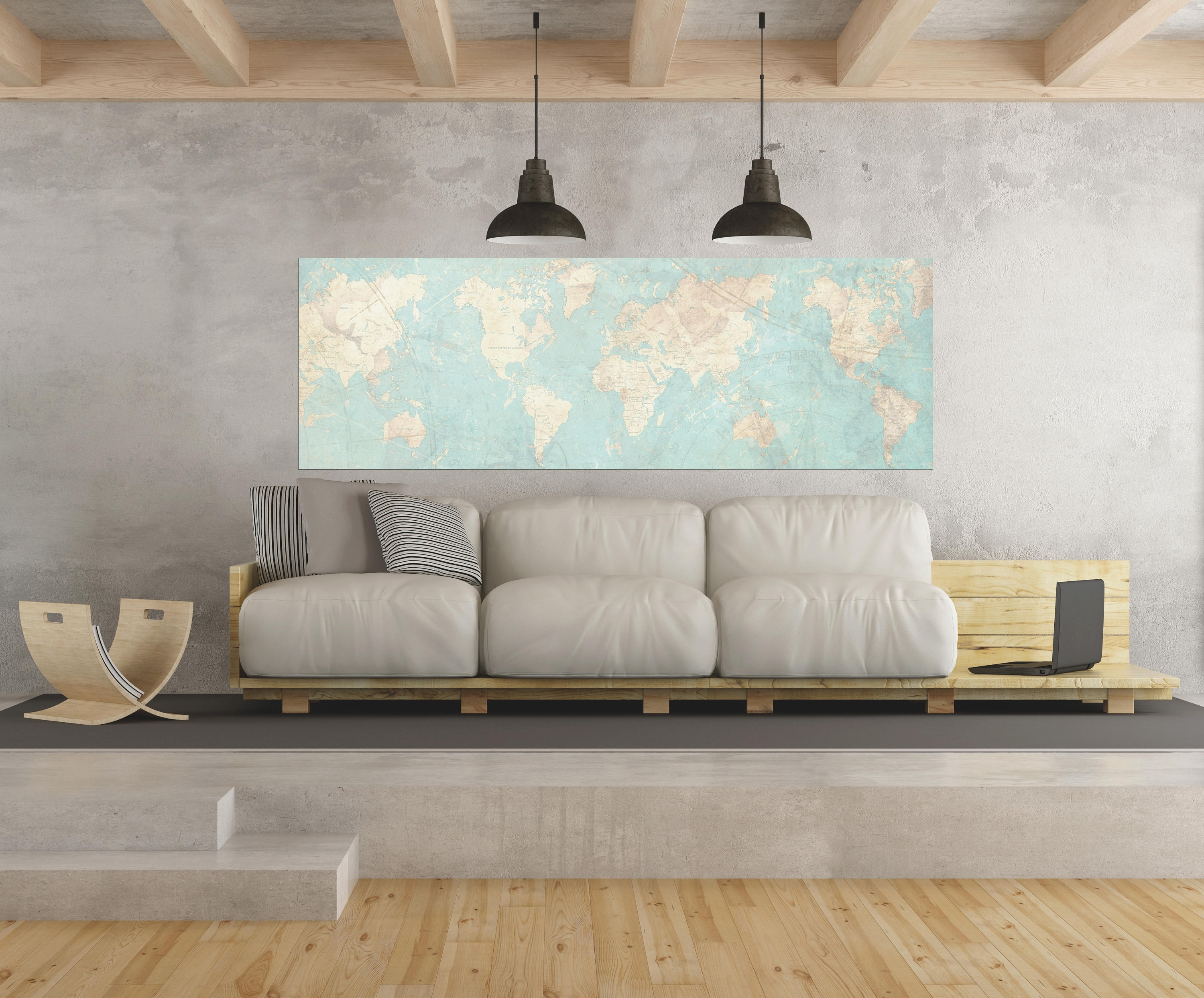 World Map Canvas Print Vintage Map World Map Horizontal Extra Large Intended For Map Of The World Wall Art (Photo 13 of 20)