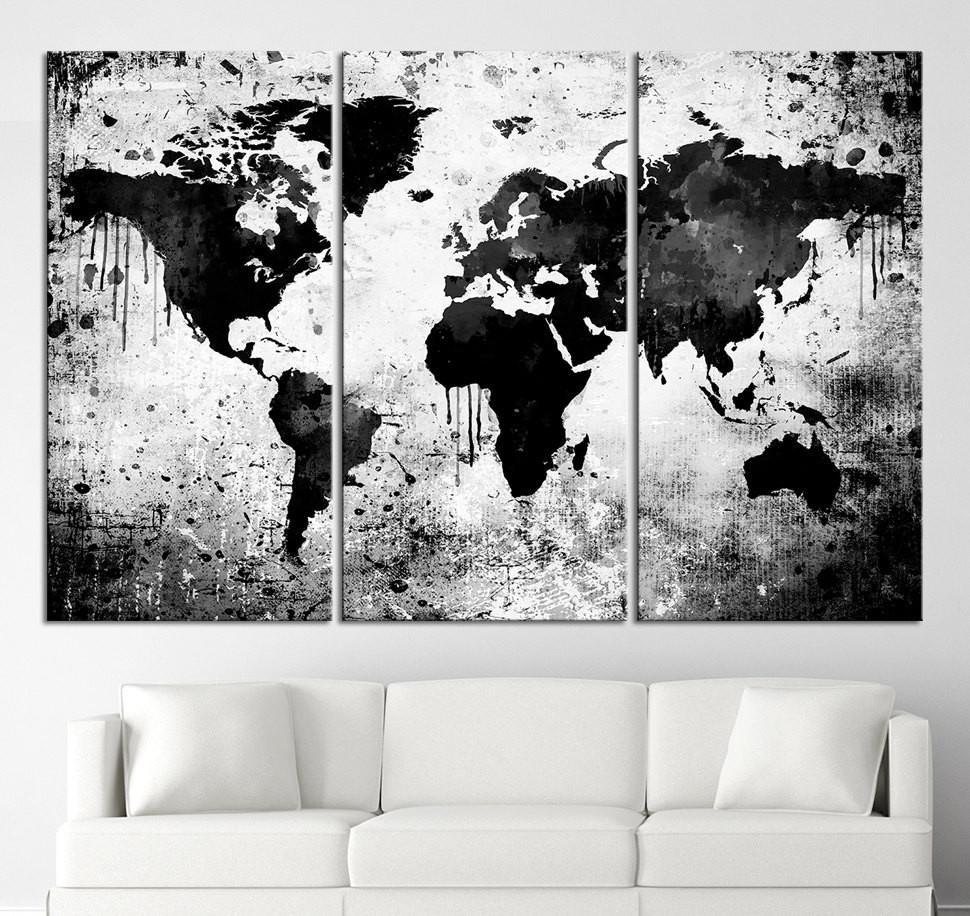 World Map Canvas Wall Art Beautiful Black White World Map Canvas Regarding Black And White Large Canvas Wall Art (Photo 19 of 20)