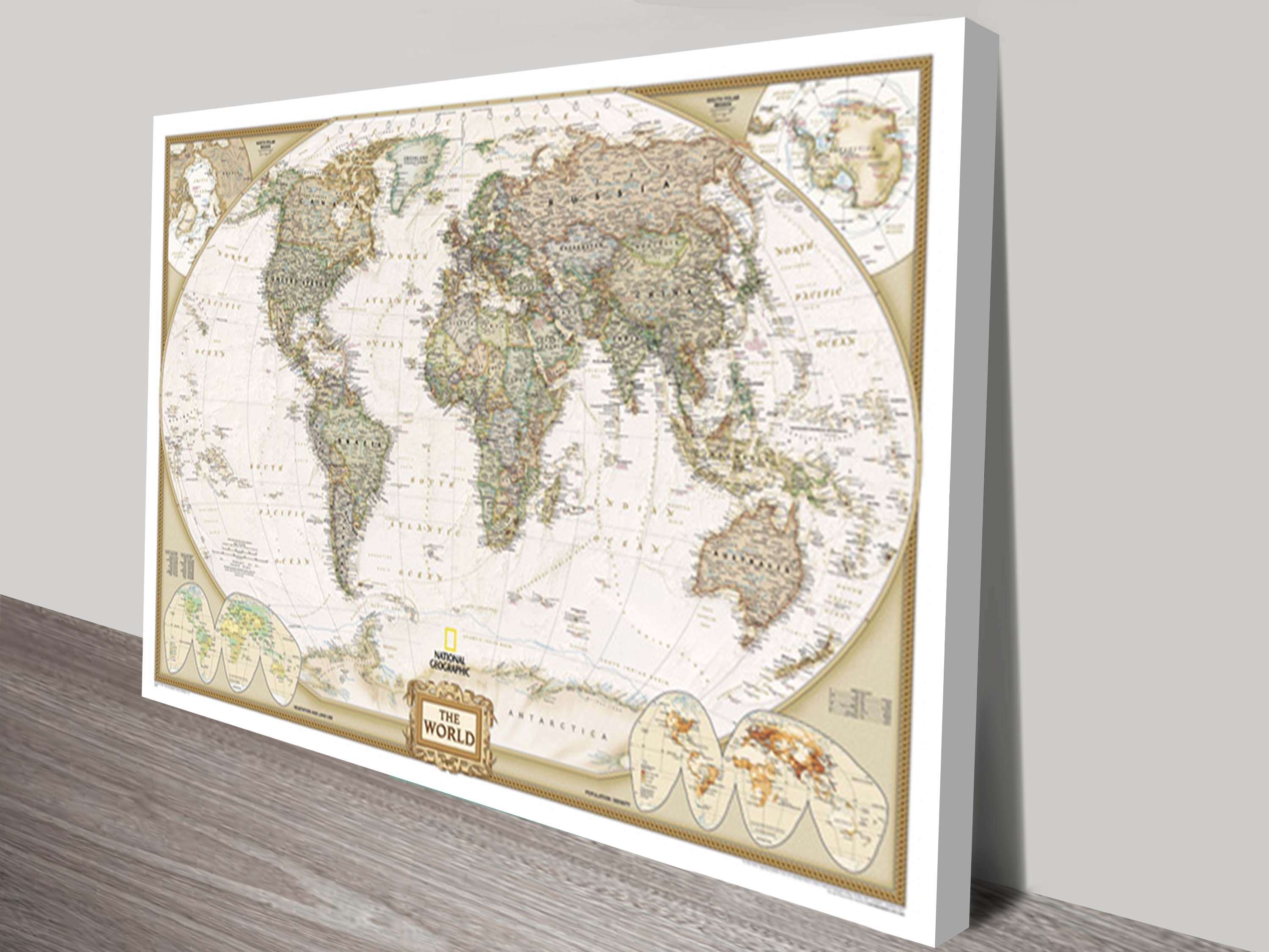 World Map Canvas Wall Art | Framed Maps Sydney In World Map Wall Art Canvas (View 4 of 20)
