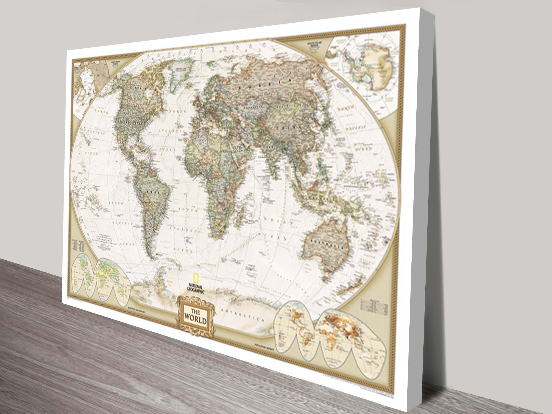 World Map Canvas Wall Art | Framed Maps Sydney Pertaining To World Map Wall Art Framed (Photo 3 of 20)