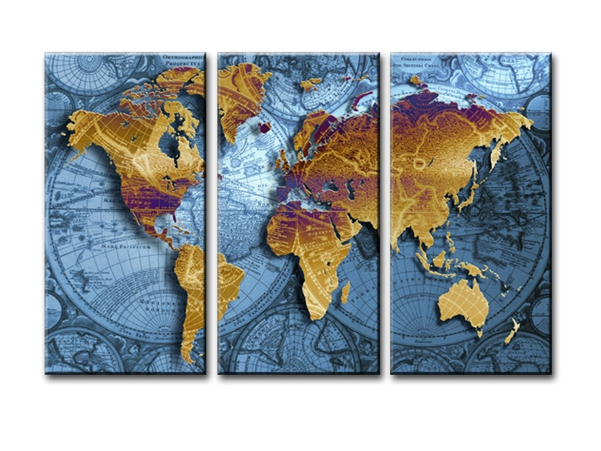 World Map Canvas Wall Art, Sz 3 Piece Golden Map On Nautical Chart Intended For Map Wall Art Prints (Photo 18 of 20)