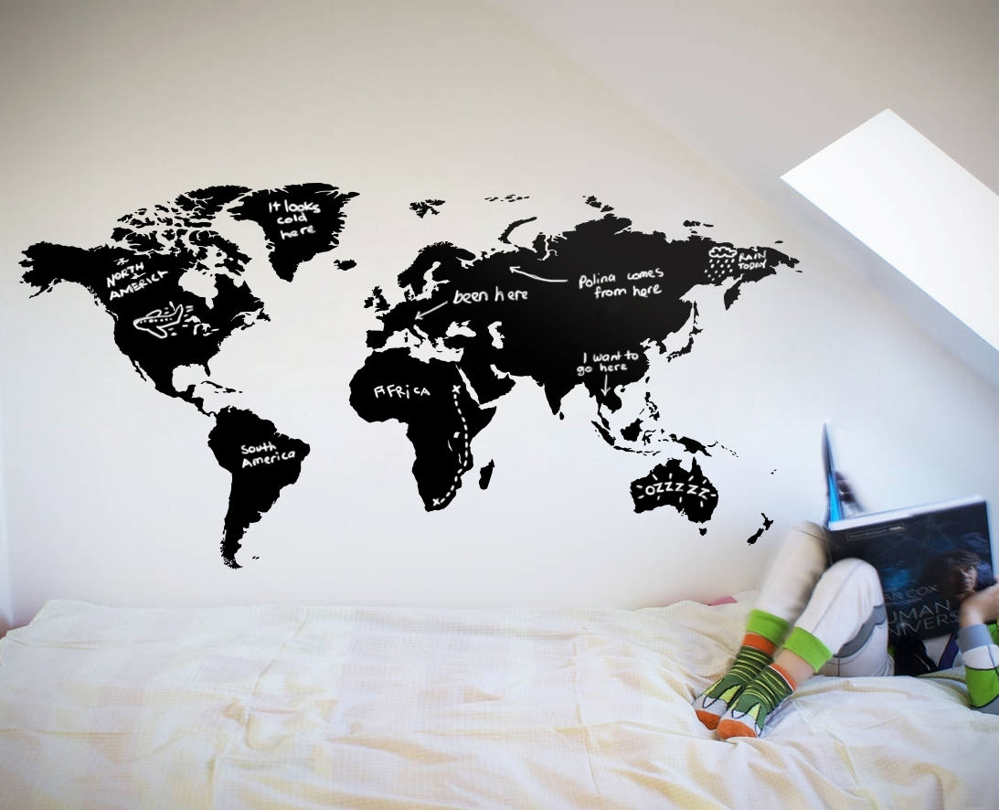 World Map Chalkboard – Your Decal Shop | Nz Designer Wall Art Decals Within Wall Art Stickers World Map (Photo 9 of 20)